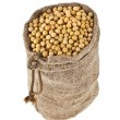 Soybeans in open bags isolated on white background — Stock Photo #38075643