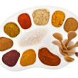 Collection of various color spices on a art palette with wooden spoon isolated on a white background — Stock Photo #38075769