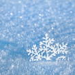 Winter snow surface cover background with snowflake close up — Stock Photo