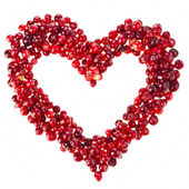 Heart frame card of fresh cranberries surface with copy space isolated on white background — Stock Photo