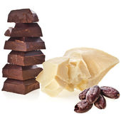 Cocoa butter, chocolate pieces tower stack and beans heap isolated on white background — Stock Photo