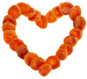 Dried Apricots in shape heart frame card isolated on white background — Stock Photo