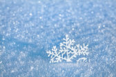 Winter snow surface cover background with snowflake close up — Stok fotoğraf