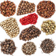 Stock Photo: Collection set of colored peppercorn heap