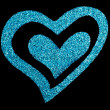 Glitter heart on black color — Stock Photo #41479651