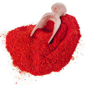 Powder paprika with wooden spoon — Foto Stock