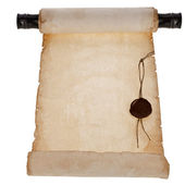 Scroll ancient antique paper with a wax seal — Stock Photo