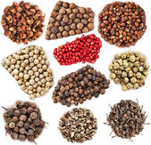 Collection set of colored peppercorn heap — Photo