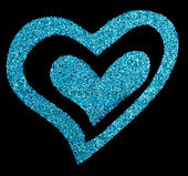 Glitter heart on black color — Stock Photo