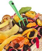 Compost pile of kitchen scraps — Foto de Stock
