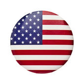 The USA flag in the Round Pin Button — Stock Photo