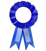 Blank blue award winning ribbon — Stock Photo
