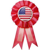 Award ribbon with USA flag button — Stock Photo