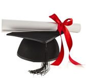 Black Graduation Cap with Degree — Stock Photo