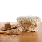 Rising Yeast Dough in bowl — Foto de Stock