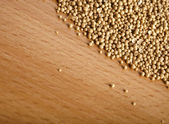 Soybeans on wooden table — Stock Photo