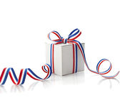Gift box with red green stripe — Stock Photo