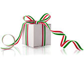 White Gift Box Wrap Stripe Ribbon Bow — Zdjęcie stockowe