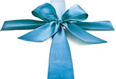 Blue gift ribbon bow — Stock fotografie