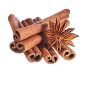 Cinnamon sticks with whole star — Stock Photo