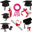 Collection set of Black Graduation Caps — Stok fotoğraf