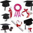Collection set of Black Graduation Caps — Stockfoto
