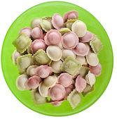 Italian pasta ravioli with white sauce — Stock Photo