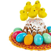 Easter bread cake and colored egg — Stock Photo