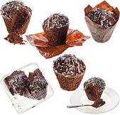 Collection set of Chocolate Muffin in paper — Stock Photo