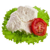 Ricotta Cheese in the lettuce leaves and tomato — Stock Photo