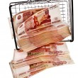 One Million Russian Banknotes Rubles falling from shopping basket cart — Stock Photo #44482335