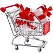 Shopping basket cart with gift boxes — Stock Photo #44481431