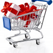 Shopping basket cart full of gift boxes — Stock Photo #44481557