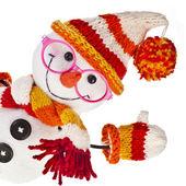 Mutlu, kardan adam gözlüklü örme şapka ve atkı ve eldiven — Stok fotoğraf