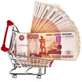 Shopping basket cart One million Russian Rubles — Stock Photo