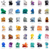 Collection set of semi-precious gemstones — Stock Photo