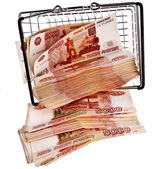 One Million Russian Banknotes Rubles falling from shopping basket cart — Stock Photo