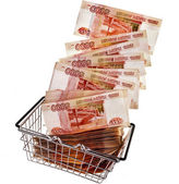 One Million Russian Banknotes Rubles of the Russian Federation falling in your shopping basket cart — Stock Photo