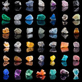 Collection set of semi-precious gemstones — Stock Photo