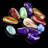Group of natural colorful raw gemstones — Stock Photo