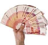Fan of One Million Banknotes Rubles of the Russian Federation in man hand — Stock Photo