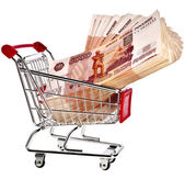 Shopping basket cart Full One Million Russian Rubles — Stock Photo
