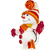 Happy snowman in knitted hat — Stok fotoğraf