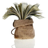 Sack bag with money banknotes — Stock Photo