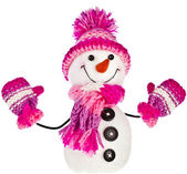 Happy snowman in knitted hat — Zdjęcie stockowe
