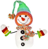 Happy snowman in knitted hat — Stock Photo
