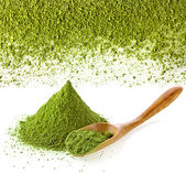 Powdered green tea with spoon — Stock Photo