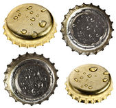 Collection set of beer bottle caps — Stock Photo