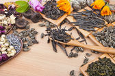 Collection of different dry types tea — Stock Photo