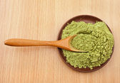 Powdered Green Tea Matcha in spoon — Stock Photo
